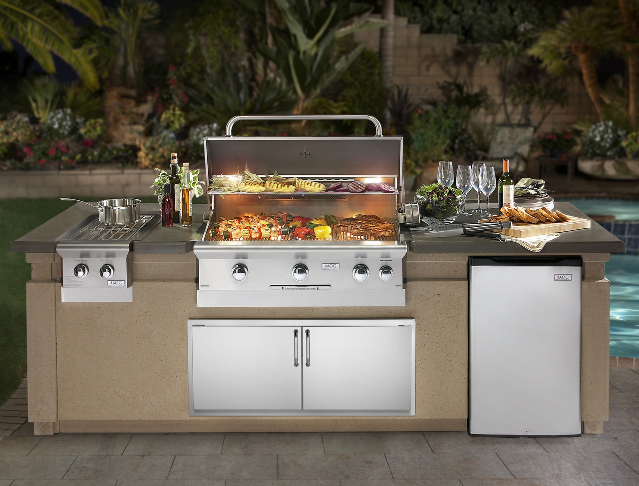 built in outdoor kitchen build your own aog grills add style cooking excellence to your outdoor kitchen american grill 36