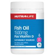 Nutra-Life Fish Oil 1500mg Plus Vitamin D, 180 Capsules