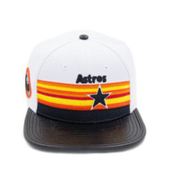 HOUSTON ASTROS RETRO STRIPE STAR LOGO LEATHER STRAPBACK