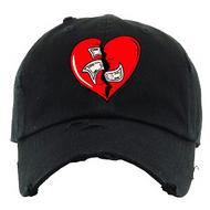 BROKEN HEART DAD HAT - BLACK