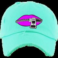 LIPS DAD HATS - MINT W/PURPLE