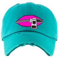 LIPS DAD HATS - TEAL W/PINK