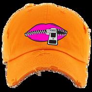 LIPS DAD HATS - ORANGE W/PINK