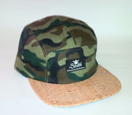 5-PANEL CAMO WOOD BRIM STRAPBACK