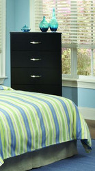 CHEST-JACOB BLACK GLOSS 5 drawer w/ roller glides
