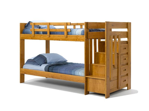 PINE STAIRWAY BUNK BED