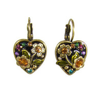 Michal Golan Midnight Blossom Heart Earrings