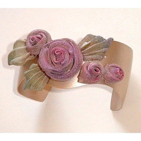 SARAH CAVENDER WAVY CUFF WITH 3 ROSES and PLEATED LEAVES