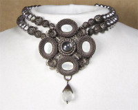 SARAH CAVENDER PENDANT WITH STONES and FACETED DROP ON 2-STRANDS OF PEARLS~18131C
