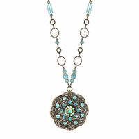 Michal Golan Atlantis Collection - Round Floral Pendant Necklace ~ N3406