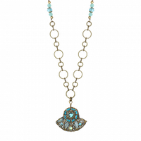 Michal Golan Atlantis Collection - Fan Pendant on Beaded Chain Necklace ~ N3389
