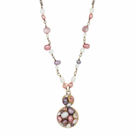 Michal Golan Constellation Collection - Double Circle pendant on Pearl Chain Necklace ~ N3630