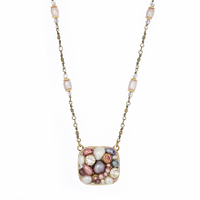 Michal Golan Constellation Collection - Soft-edged Square Pendant on Long Chain Necklace ~ N3638