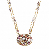 Michal Golan Constellation Collection - Oval Pendant on Double Pearl and Crystal Chain Necklace ~ N3629