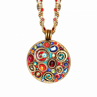 Michal Golan Confetti Collection - Large Round Pendant Necklace on Double Chain~ N3133