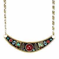 Michal Golan Earth Collection - Large Half-moon Pendant on Double Chain Necklace ~ N3655