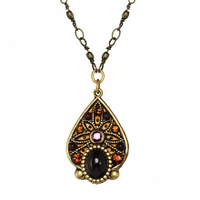Michal Golan Garnet Collection - Teardrop Pendant on Partially Beaded Chain Necklace ~ N3547