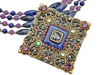 Michal Golan Florence Collection -Large Square Triple Beaded Pendant~N2980