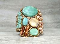 Statement Cuff Bracelet in Aqua Blue Agate & Gold Sand Color Block
