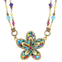 Michal Golan Blue Groovy Flower Necklace