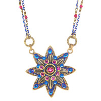 Michal Golan Blue Star Flower Necklace