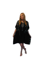Black  Indie Embroidered Poncho/Kaftan by Lakra