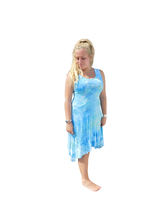 Ice Tye Dye Asymmetrical Sleeveless Dress by Martha- Caribbean Tide