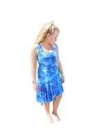 Ice Tye Dye Asymmetrical Sleeveless Dress by Martha- Peacock Blue