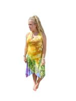 Ice Tye Dye Asymmetrical Sleeveless Dress by Martha- Sunset