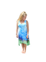 Ice Tye Dye Asymmetrical Sleeveless Dress by Martha- Mount Vista