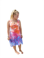 Ice Tye Dye Asymmetrical Sleeveless Dress by Martha- Salamander