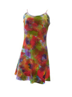 Hand Painted Strappy Cotton Mini Dress-Poppy