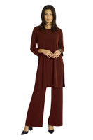 Shown in Bordeaux with Dharma High Slit Tunic
