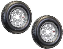 2-Pk Mounted Trailer Tire On Rim ST175/80D13 175/80 13 5-4.5 Silver Spoke Wheel