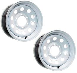 2-Pack Trailer Rim Wheel 15X6 6-5.5 White Modular 2830 Lb. 4.27 Center Bore
