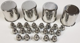 4 Trailer Wheel Lug and Cap Sets - Stainless Hub Cover 20 SS Lugs 3.19in. Center