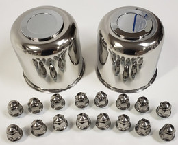 2 Trailer Wheel Lug and Cap Sets - Stainless Hub Cover 8 SS Lugs 4.90in. Center