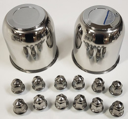 2 Trailer Wheel Lug and Cap Sets - Stainless Hub Cover 6 SS Lugs 4.25in. Center