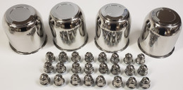 4 Trailer Wheel Lug and Cap Sets - Stainless Hub Cover 6 SS Lugs 4.25in. Center