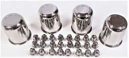 4 Trailer Wheel Lug and Cap Sets - Stainless Hub Cover 6 SS Lugs 3.75in. Center