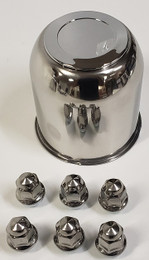Trailer Wheel Lug and Cap Set. Stainless Steel Hub Cover 6 SS Lugs 4.25in Center