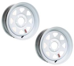 2-Pack Trailer Rim Wheel 15X5 J 5-4.5 White Spoke 2150 Lb. 3.19 Center Bore