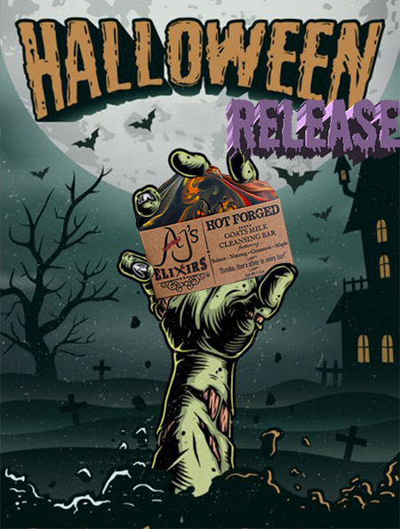 AJ's Elixirs Halloween Release of New Hot Forged Bath and Body Bar Soap.