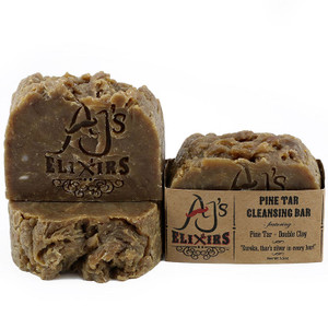 AJ's Elixirs Pine Tar Cleansing Bar cares for dry problematic skin by moisturizing as it deep cleans.