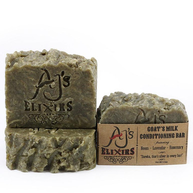 AJ's Elixirs Goats Milk and Neem Oil Bar; an soothing blend that's superfatted to perfection to provide the creamiest and most moisturizing hair and skin loving bar you've ever experienced.