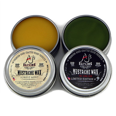 AJ's Elixirs Moustache Wax combination pack.