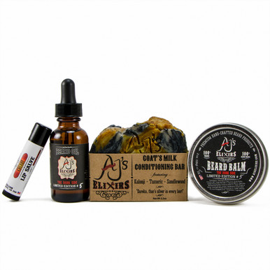 AJ's Elixirs Beard and Body Bundle Pack contains a Beard Shampoo Bar, Beard Oil, Beard Balm, and Lip Salve to provide the best beard conditioning and styling, with lips to match.