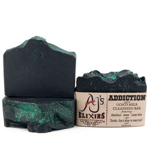 AJ's Elixirs Goats Milk Bar Soap in Addiction scent; superfatted to perfection, to provide the creamiest and most moisturizing hair and skin loving bar you've ever experienced.