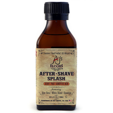 AJ's Elixirs after shave splash calms, soothes, refreshes, and revives. Combined with powerful vitamins and active botanicals for an effective toner.