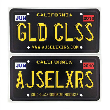 AJ's Elixirs Gold-Class Grooming Licensed® vinyl stickers available in Licensed Gold Class, or Licensed Branded designs.